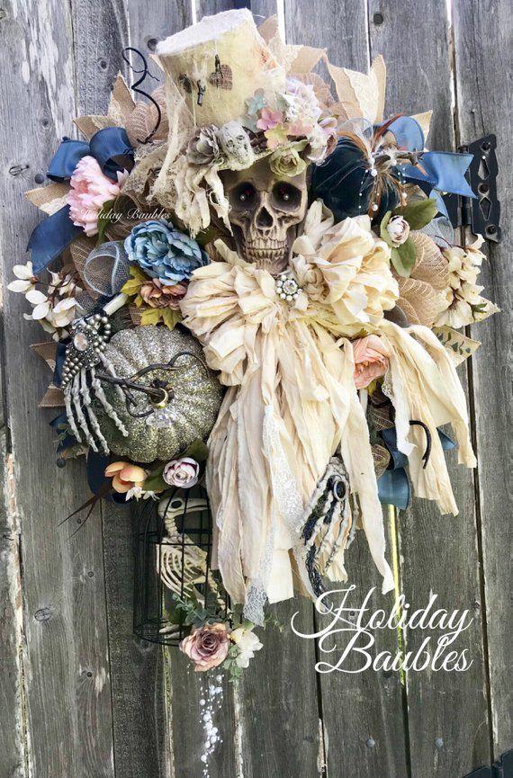 Vintage Halloween Wreath, Skeleton Wreath, Miss Havisham Wreath - creepy halloween decor