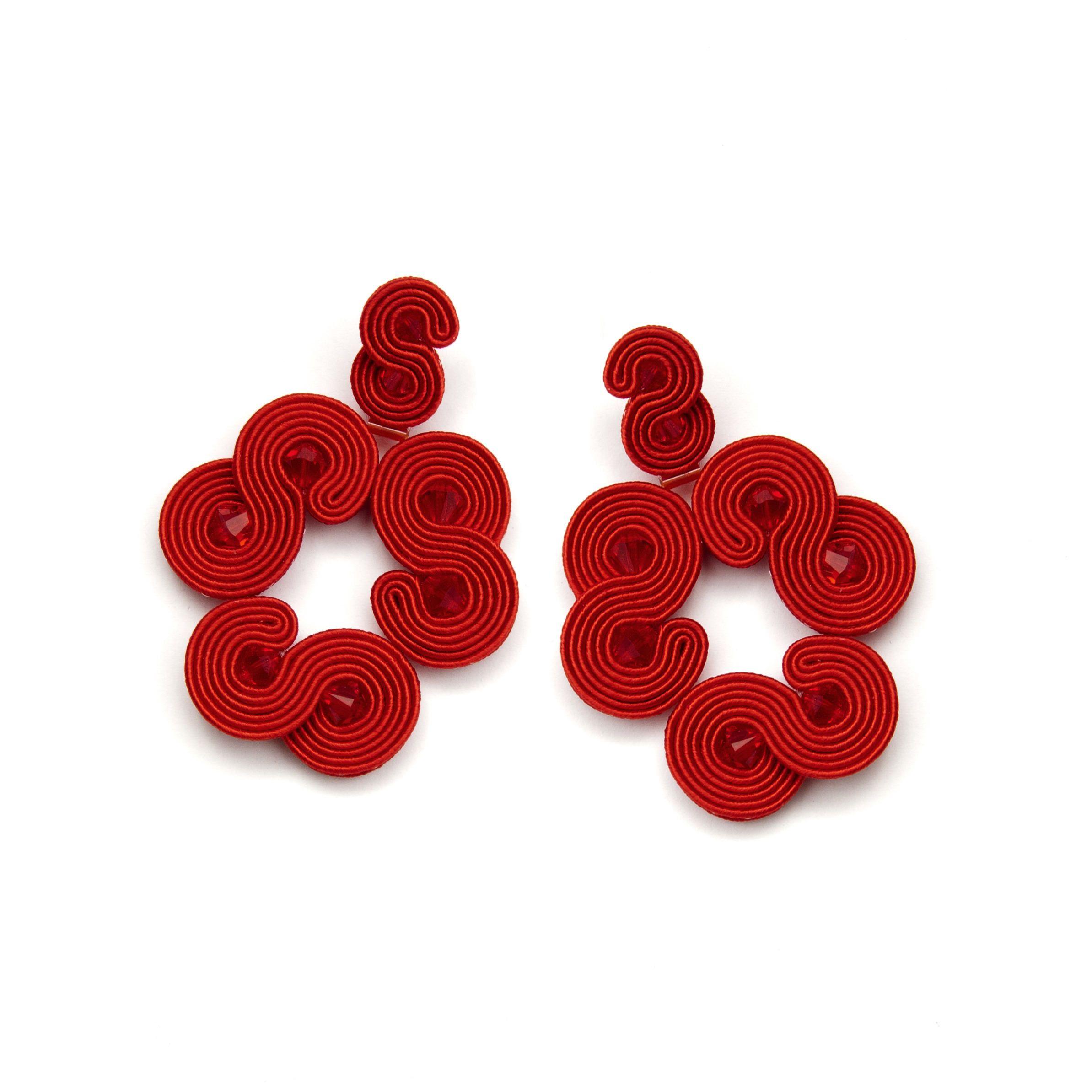 Red chandelier earrings soutache jewellery red crystal large red chandelier earrings soutache jewellery red crystal large aloadofball Choice Image