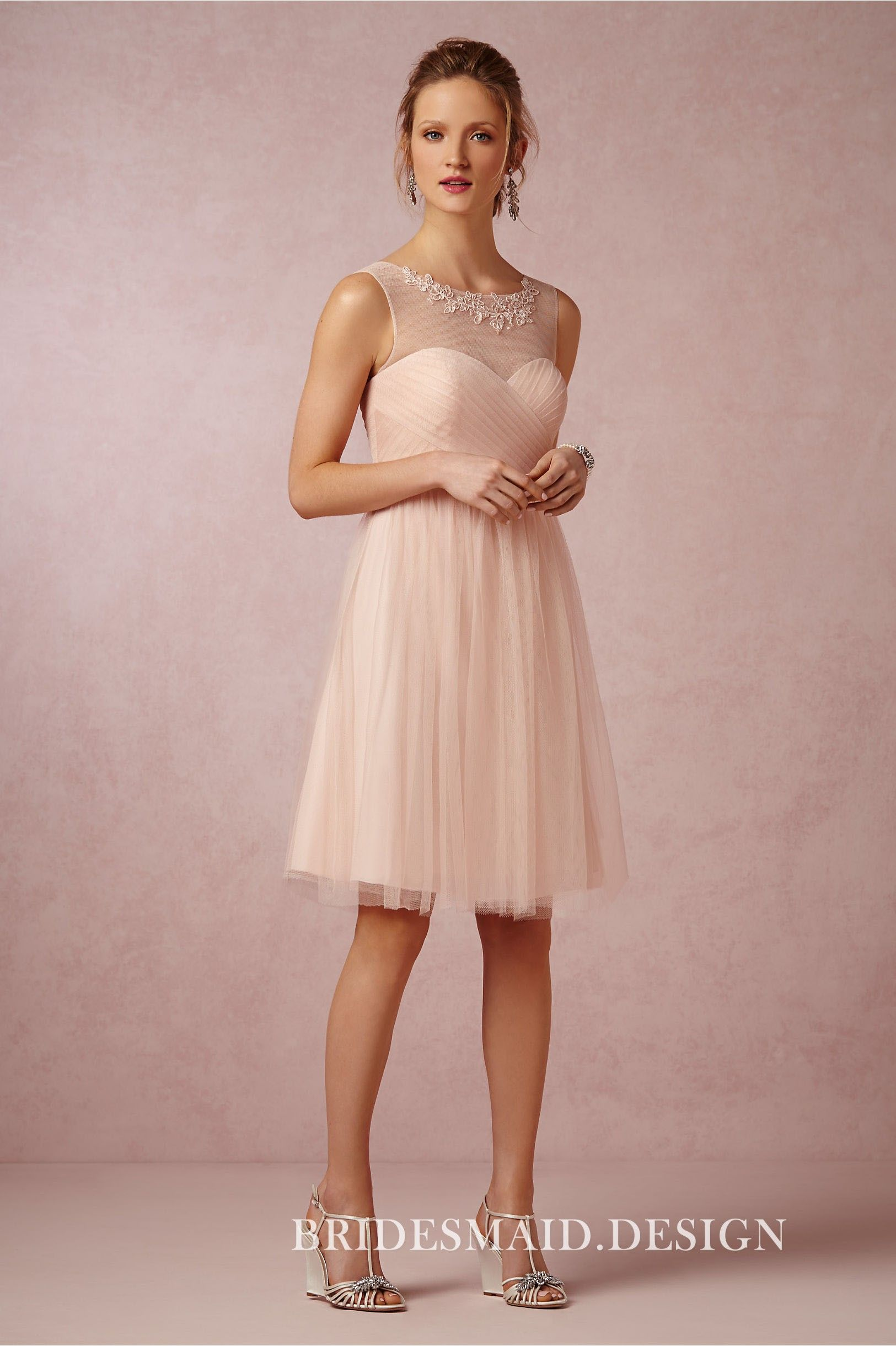 Blush Chiffon Knee Length A Line Bridesmaid Dress With Tulle Overlay Lace Appl Blush Bridesmaid Dresses Knee Length Bridesmaid Dresses Pink Bridesmaid Dresses