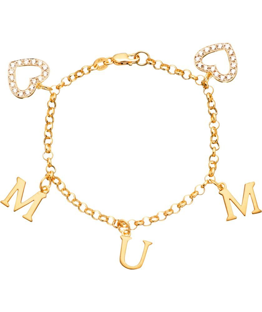 34aacc40a ... closeout buy 18ct gold plated silver mum zirconia heart charm bracelet  at argos your online shop
