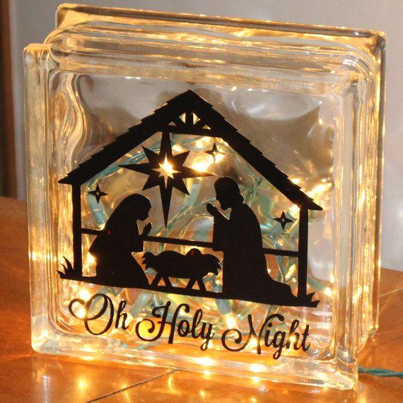 Premium Black Or White Vinyl Decal Nativity Scene Oh Holy Night - Nativity vinyl decal for glass block light