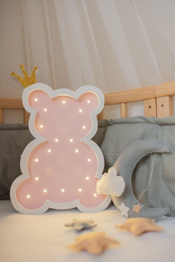 Vintage Brown Plush Teddy Bear Lamp Children S Nursery Decor