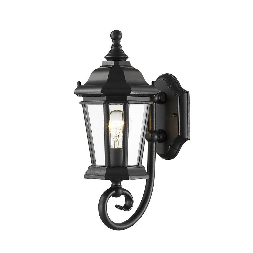 Filament Design Presley 1 Light Black Outdoor Wall Lantern Sconce Cli Jb045680 The Home Depot Black Outdoor Wall Lights Outdoor Wall Sconce Wall Lights