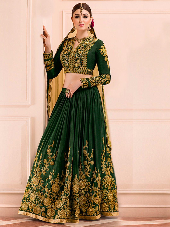 6e27e029f9 Dark Green Silk Lehenga Choli | Bridal Lehenga Choli Collection ...