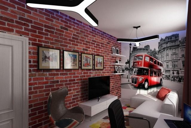 Wandgestaltung Jugendzimmer Junge Tapete Backsteinwand Optik Fototapete  Doppeldecker