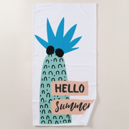 Pineapple Hello Summer Quote Beach Towel   Diy Cyo Customize Unique Special