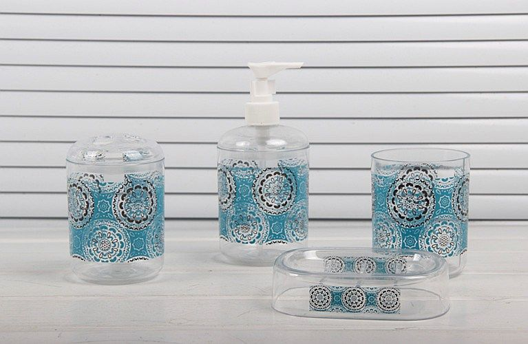 #Baroque style #blue color #modern #Latest #BathroomDesign #decora #accessory set