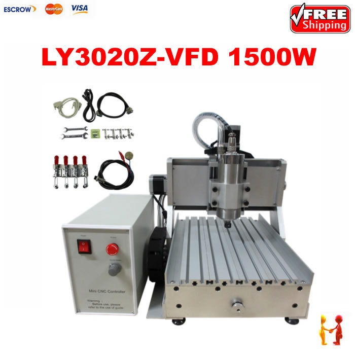 1110.00$  Watch here - http://aliqkj.worldwells.pw/go.php?t=32342494388 - 1500W stone cutting machine LY CNC 3020 Z-VFD 3axis cnc router Metal engraving machine, hot new products for 2015 Free shipping!