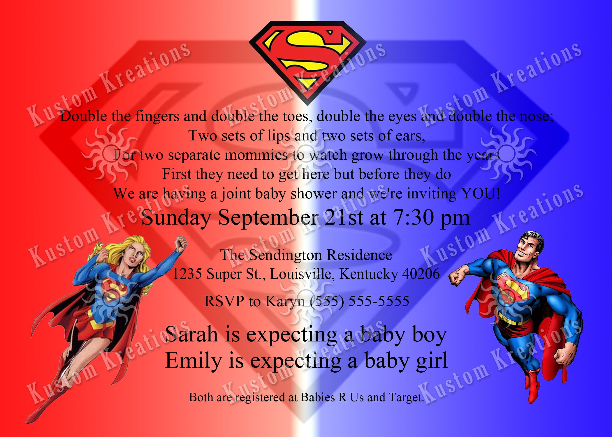 Dual Baby Shower Superman Invitation | Superman Invitations And .