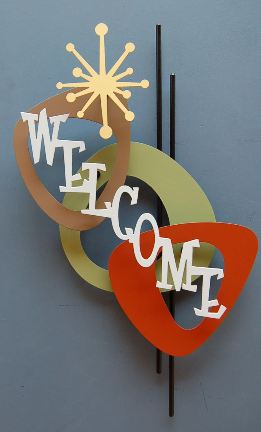 Atomic Welcome Wall Sculpture For The Love Of Letters In 2019 Mid Century Modern Art Mid