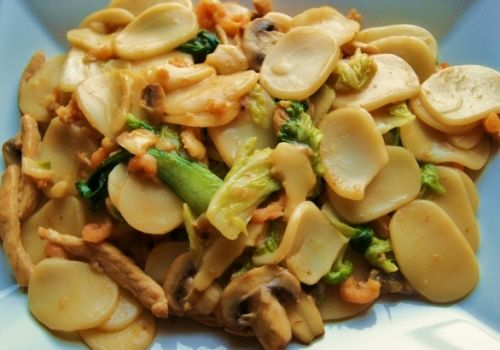Rice Cake Noodles and Pork  - These rice cake noodles are also known as