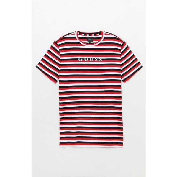 d5128e9fd7 Guess Tilden Striped T-Shirt ($75) ❤ liked on Polyvore featuring tops, t- shirts, guess tops, red striped tee, striped crew neck t shirt, crew neck t  shirt ...
