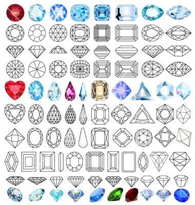 Photo of Cut precious gem stones set vector