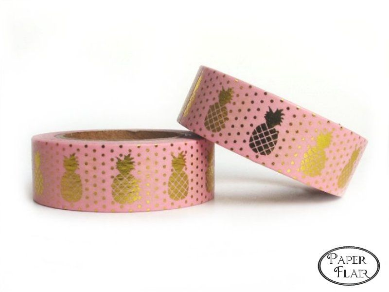 Washi Tape - Foil Ananas gold