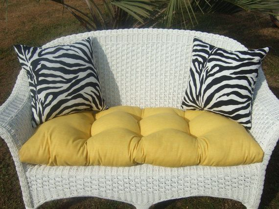 Indoor / Outdoor Cushion For Wicker Loveseat Bench Settee   Solid Yellow  Cushions U0026 Black And White Zebra Pillows
