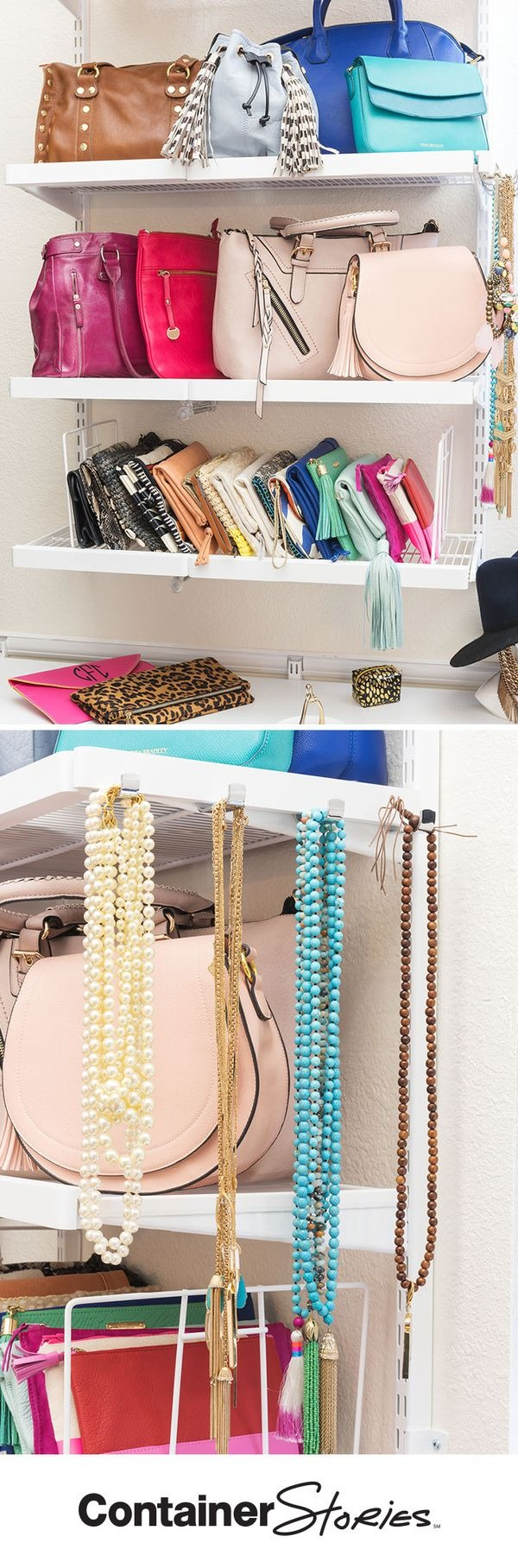 Hangmates at the end of elfa decor shelves are perfect for storing