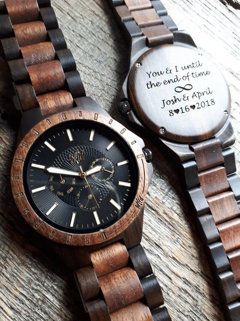 Wood Watch Wooden Watch Engraved Watch Watch For Mens Etsy Groomsmen Watches Watch Engraving Wooden Watch Engraved