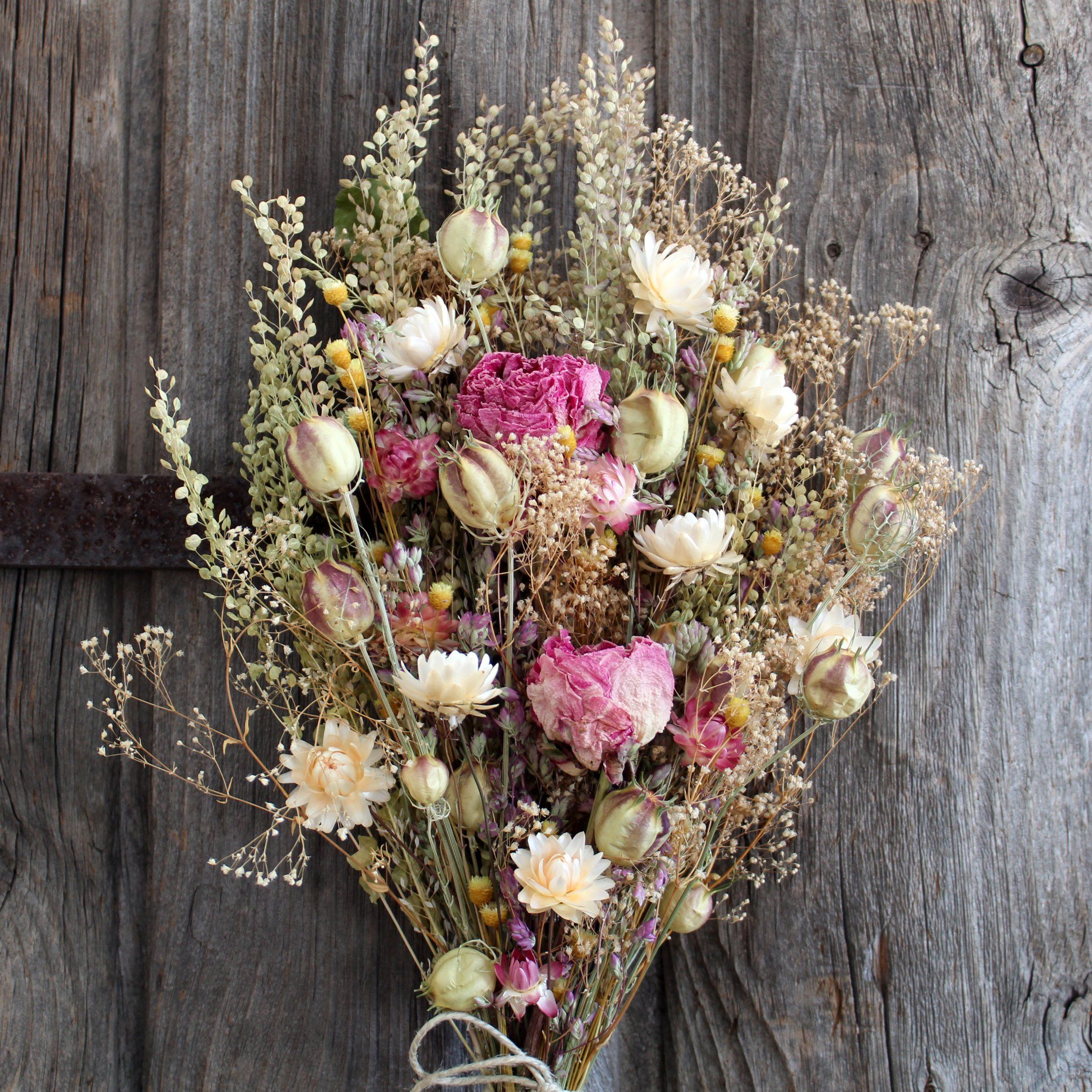 Dried Flower Bouquet Pink Peonies Bridal Or Home Decor Dried Flowers Dried Flower Bouquet Flower Bouquet Wedding