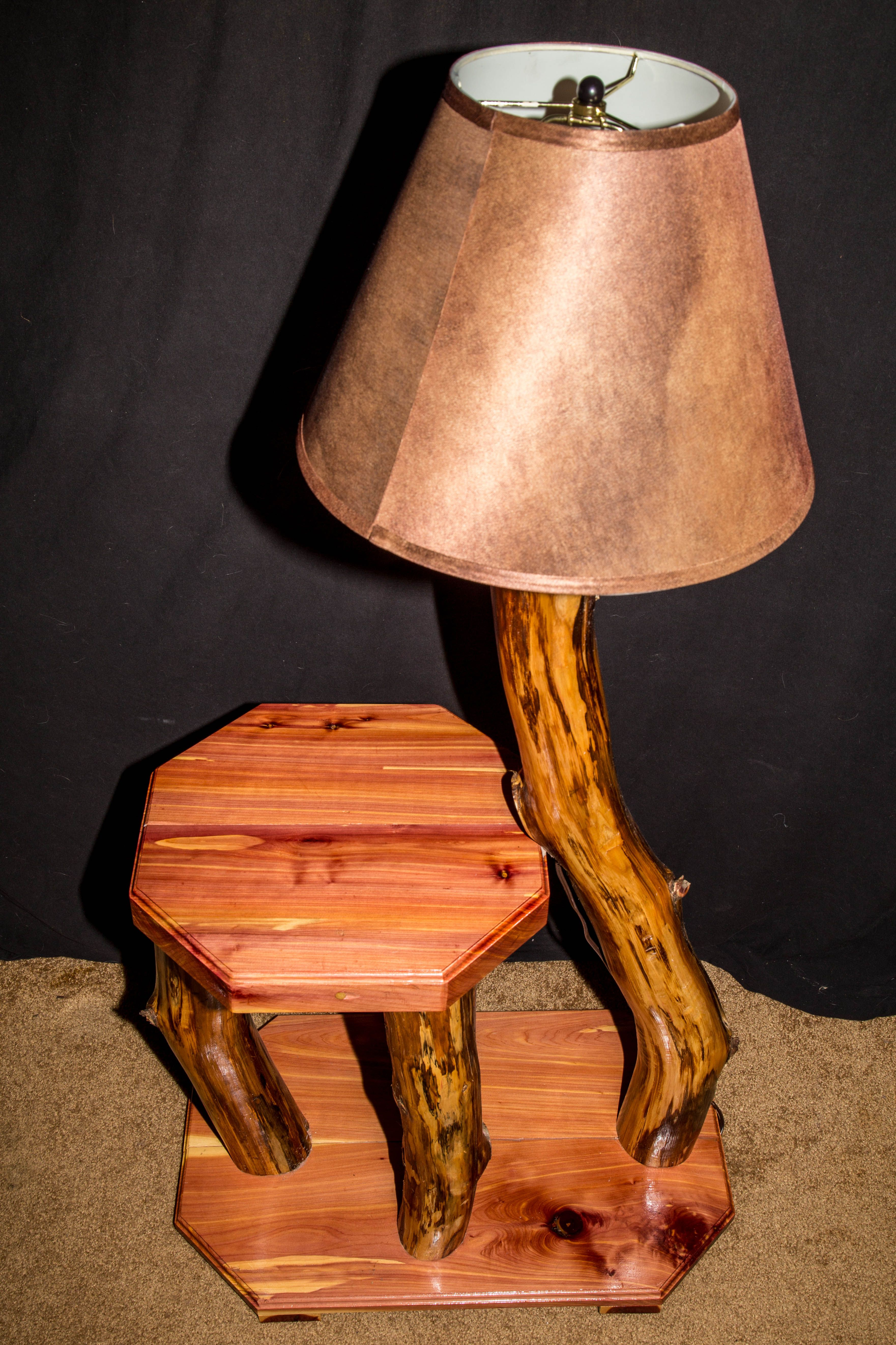 Finer Things Antiques A Solid Teak Floor Lamp With Built In Table And Vintage Parchment Shade Teak Flooring Lamp Vintage Table Lamp