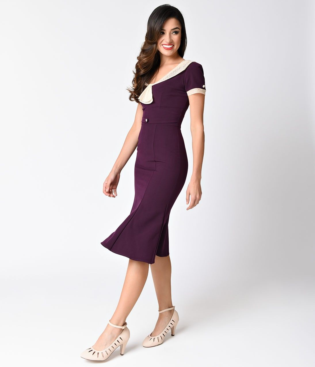 Exclusive Stop Staring! 1930s Eggplant Purple & Ivory Railene Dress ...