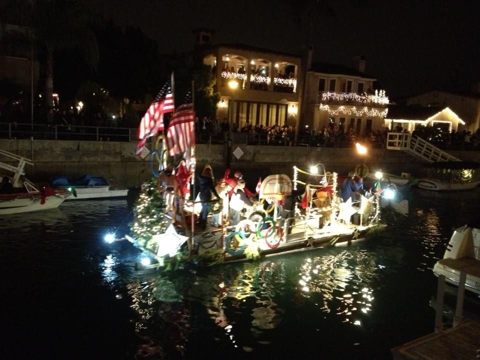 Christmas Boat parade in Naples canal, Long Beach, CA