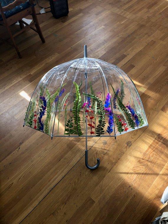 Garden Views Umbrella - Clear Umbrella with Plant Decor, Durable, Rainy Days, Festival Accessory, Costume, Wedding, Party, Parade, Unique