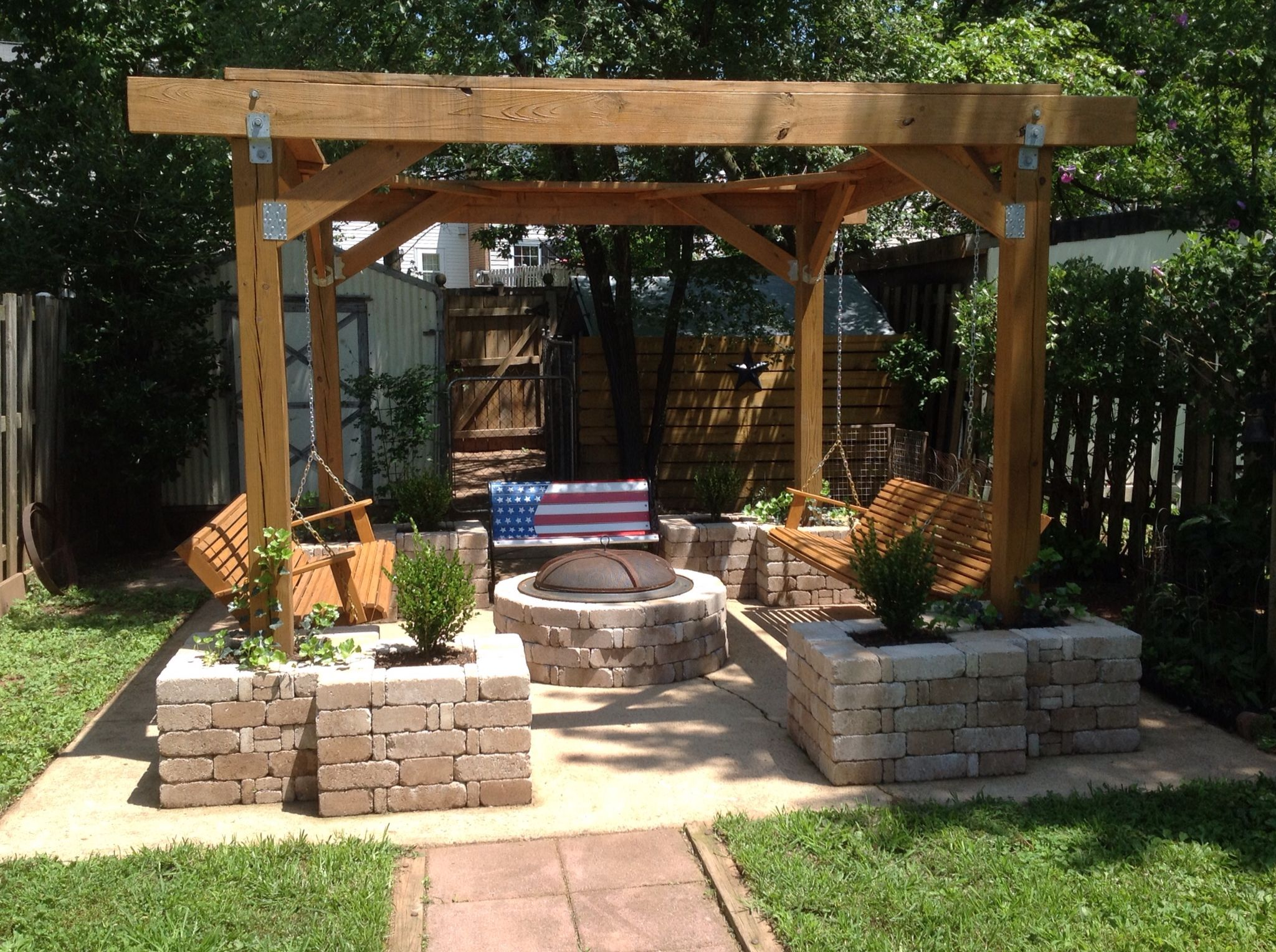 pit stop husband built this pergola with planters and fire pit on old concrete slab in back. Black Bedroom Furniture Sets. Home Design Ideas