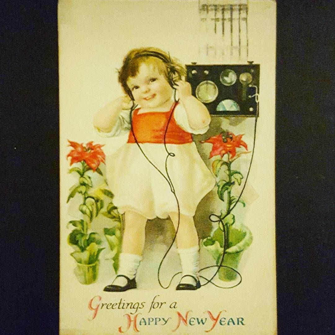 Day 2 of Have a Happy New Year - Adorably! This is a 1920s postcard of a little ... ,  Day 2 of Have a Happy New Year - Adorably! This is a 1920s postcard of a little ... ,