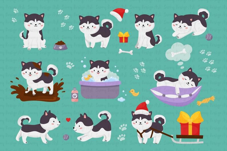 Siberian Husky Clipart Images And Free Digital Paper Kawaii Etsy Siberian Husky Dog Husky Clipart Colorful Stationery