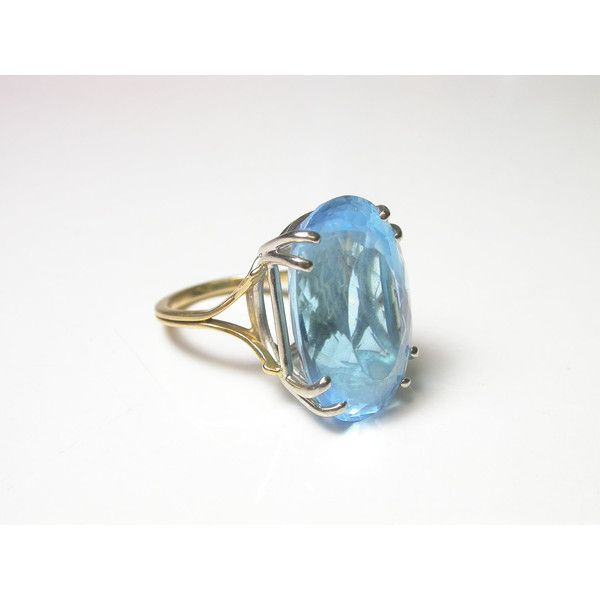 Blue Topaz 18k Yellow and White Gold Ring Size 4 5 Weight
