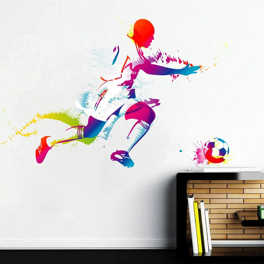 Cik108 Full Color Wall Decal Soccer Football Ball Sport Spray Paint Room Bedroom Sports Hall Sports Wall Decor Sports Wall Decals Baseball Wall Decor