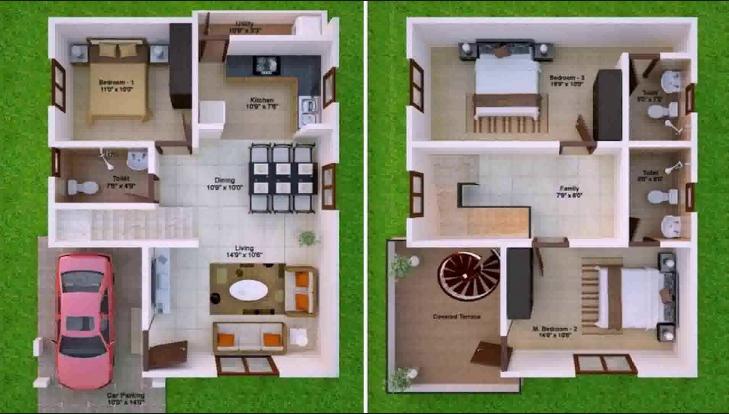 North Facing House Design Denah Rumah Denah Rumah Kecil Rumah Minimalis