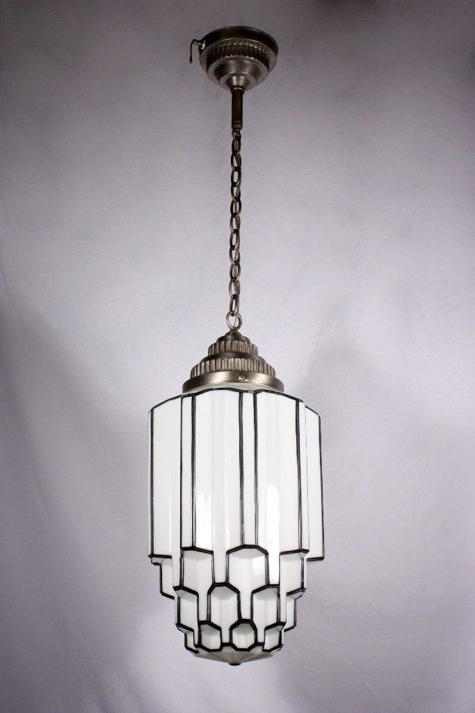 Amazing Antique Art Deco Pendant Light with Skyscraper ...