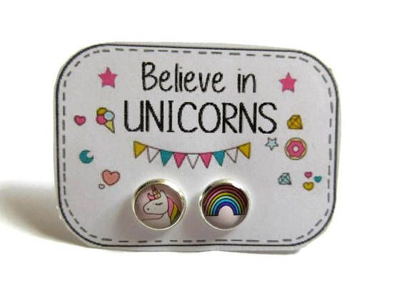 Rainbow Unicorn Earrings Kids Stud Hypoallergenic Kawaii S For