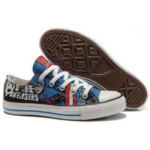 captain america toms   Converse Shoes BlueWhite Avengers