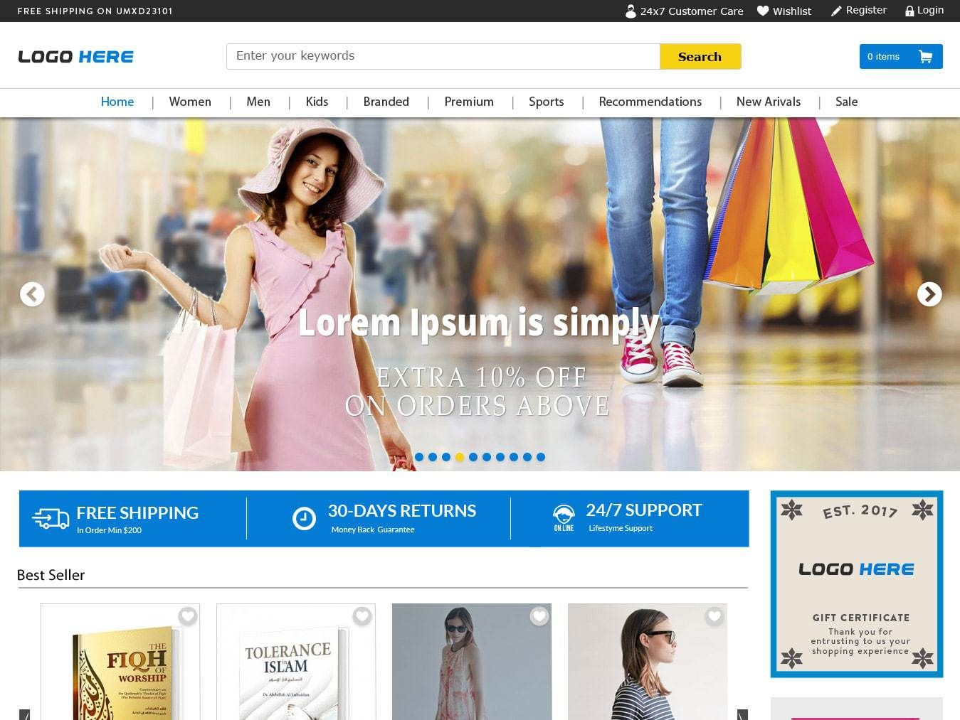 Full width ecommerce website templates free psd download