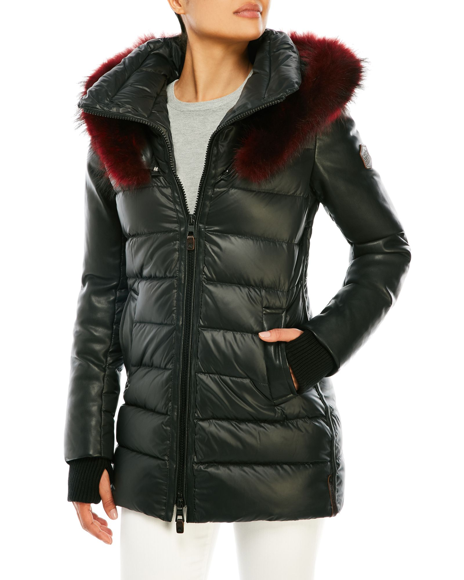 Quilted Puffer Jacket With Real Fur Trim Quilted Puffer Jacket Jackets Puffer Jackets [ 2000 x 1600 Pixel ]