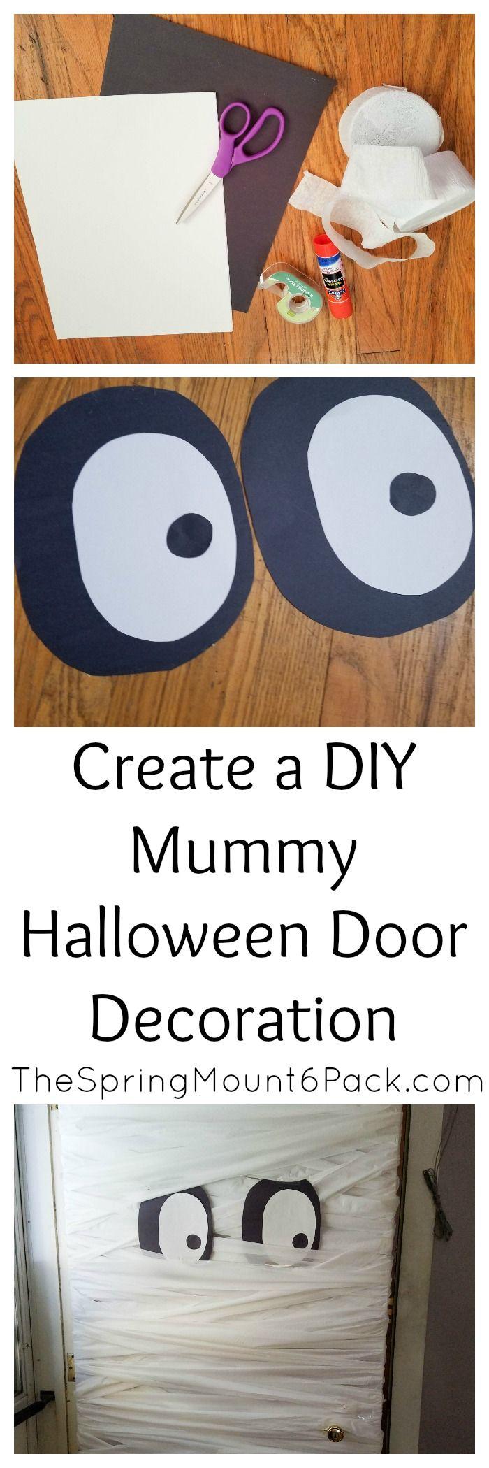 Create a DIY Mummy Halloween Door Decoration Halloween door - door decoration halloween