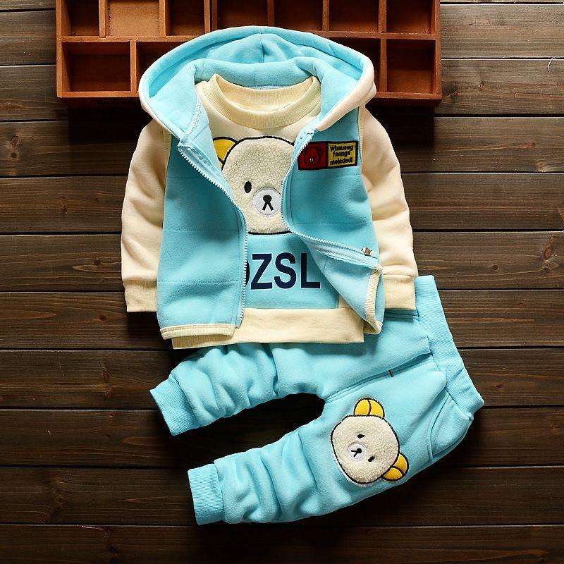 Baby Girl Winter Clothes Hot Sell Cartoon Bear Hooded Vest Full