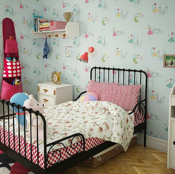 Modern Cartoon Dancing Girl Wallpaper Girls Bedroom Kids Room Roll Pink Yellow Blue Papel De