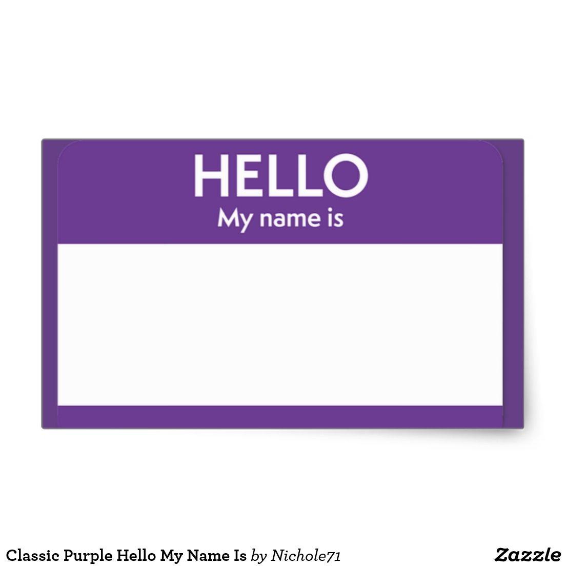 Classic Purple Hello My Name Is Rectangular Sticker Hello Sticker Comic Book Font Stickers
