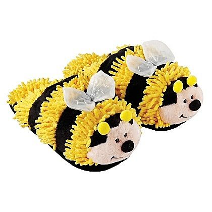 Adult Youth Fuzzy Friends Bumble Bee Slippers By Aroma Home