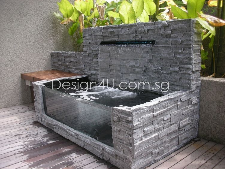 Singapore koi pond water feature fiberglass swimming for Pond water features