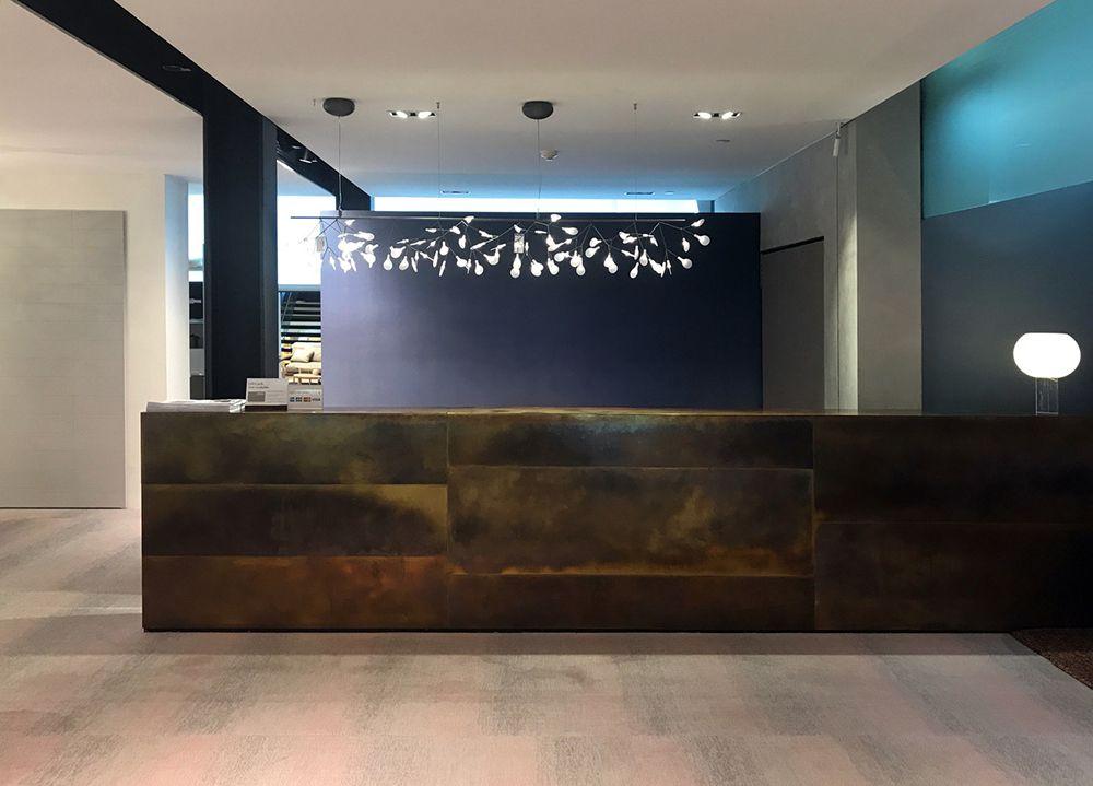 Space Furniture Counter Brass Brown Florentine Tarnish Sheet Metal Stainless Steel Sheet Metal Decor