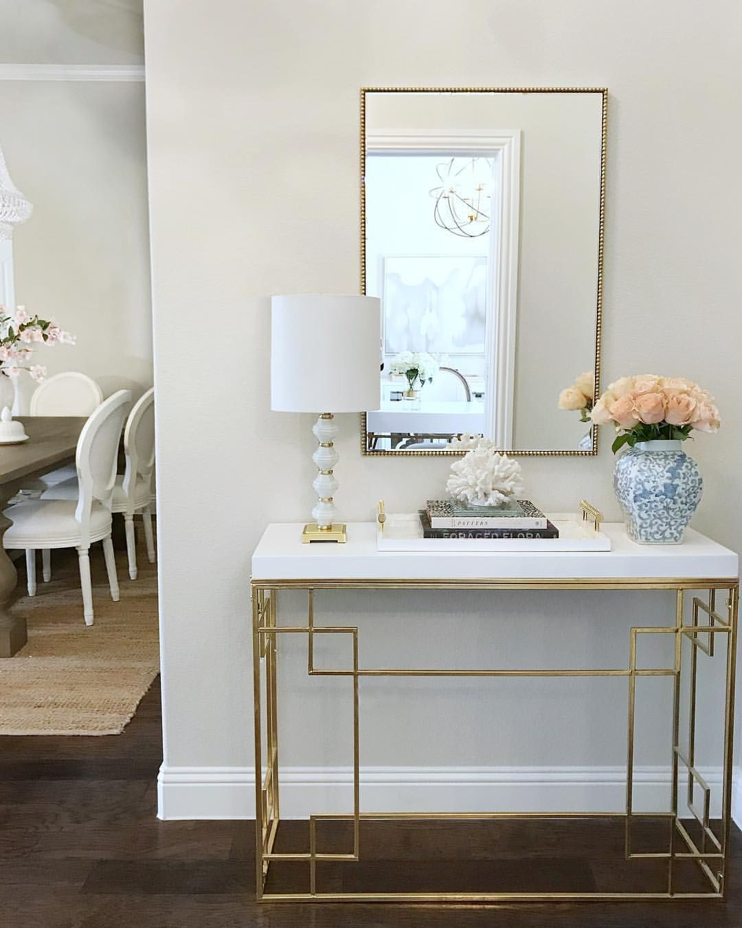 Entryway Decor Entry White And Gold Console Table Gold
