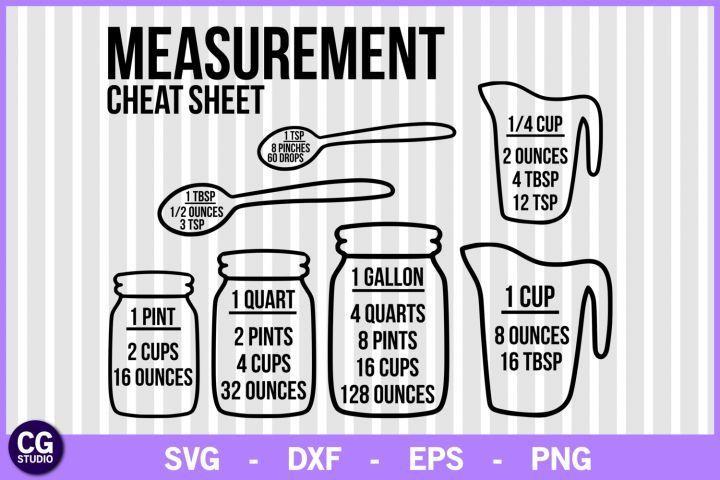 Download Measurement cheat sheet svg, kitchen svg, measuring svg ...