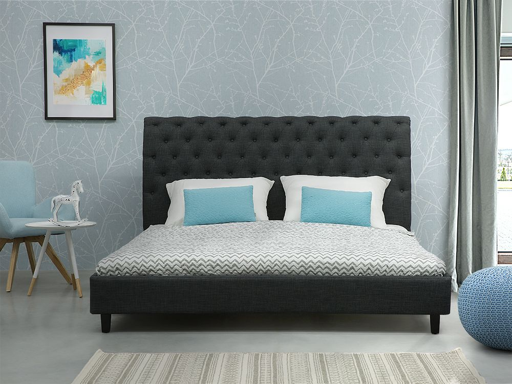Fabric EU Super King Size Bed Grey REIMS Super king size