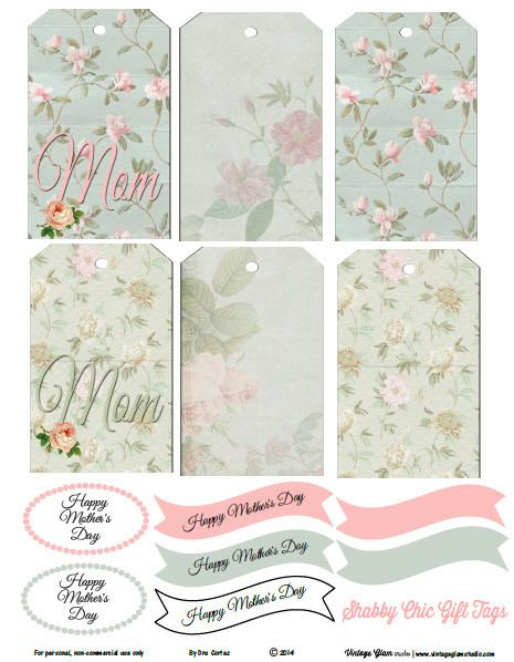 Free Printable Download - Shabby Chic Mother\u0027s Day Gift Tags