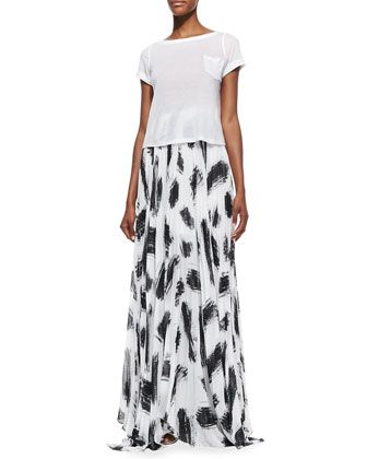 5dbeda1a6 Alice + Olivia Shannon Pleated Brush-Print Maxi Skirt | FASHION ...