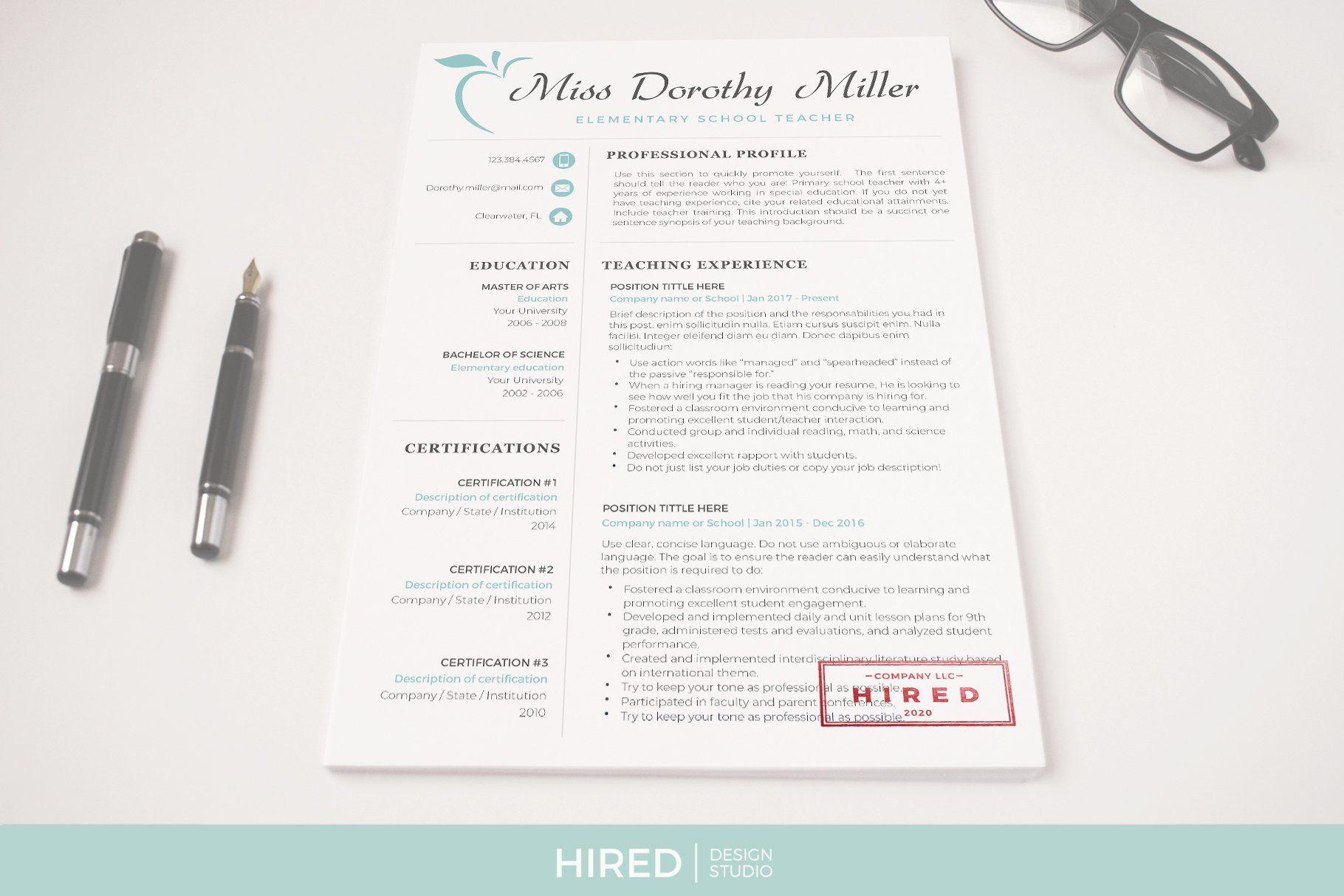 Professional resume for teachers teacher resume cover